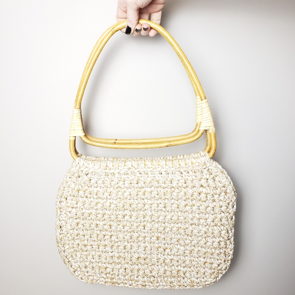 Vintage Handmade Bamboo Handled Crocheted Purse